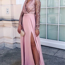 2020 Fashion Prom Dress Sequins Top Long Sleeves Split A-lin