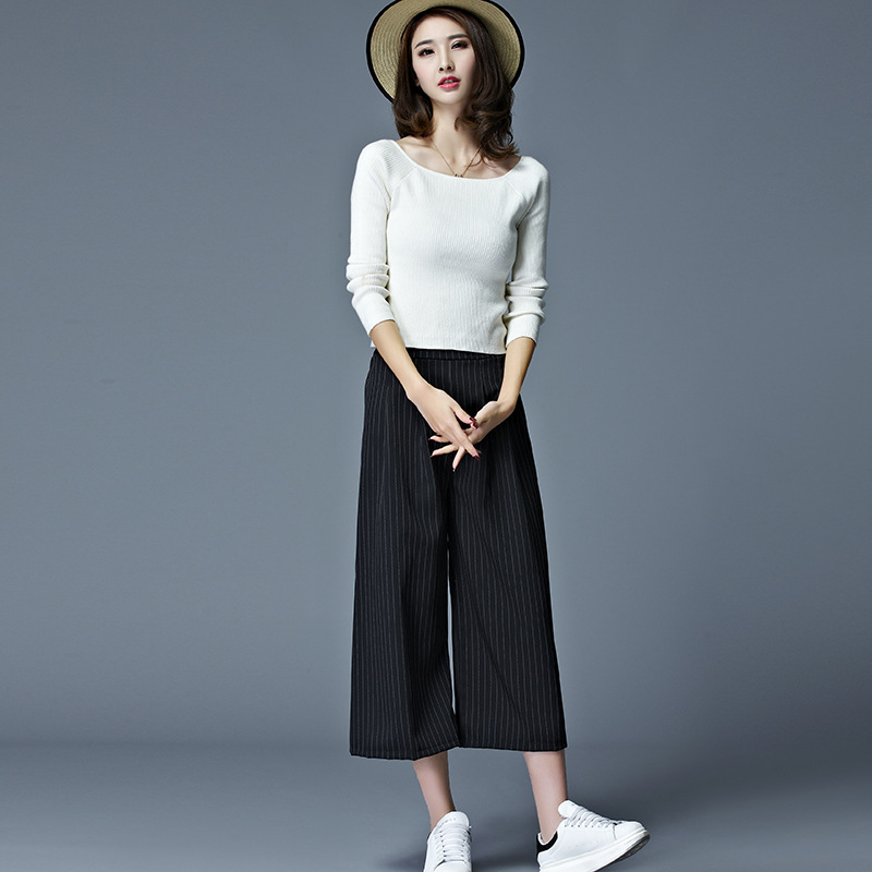 Spring And Summer New Style Large Size Loose-Fit Loose   Pants   Women's Korean-style Fashion Casual Wide Leg   Pants     Capri     Pants   Whol