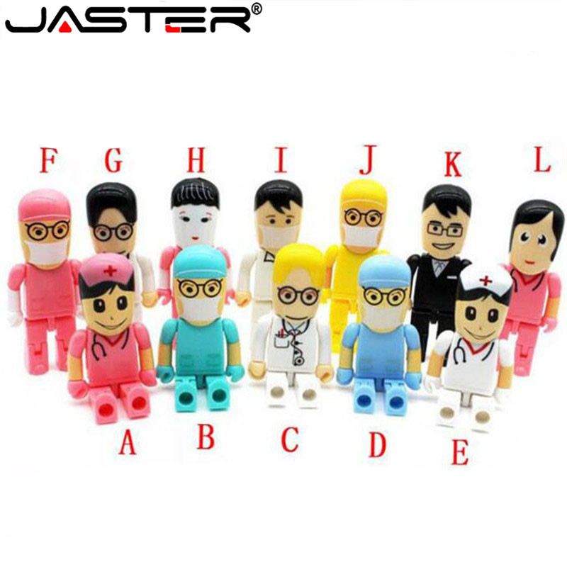 JASTER Mini Doctors Nurse USB Flash Drive Dentist Pen Drive Gift Cartoon Pendrive 4GB/8GB/16GB/32GB/64GB U Disk Wholesale