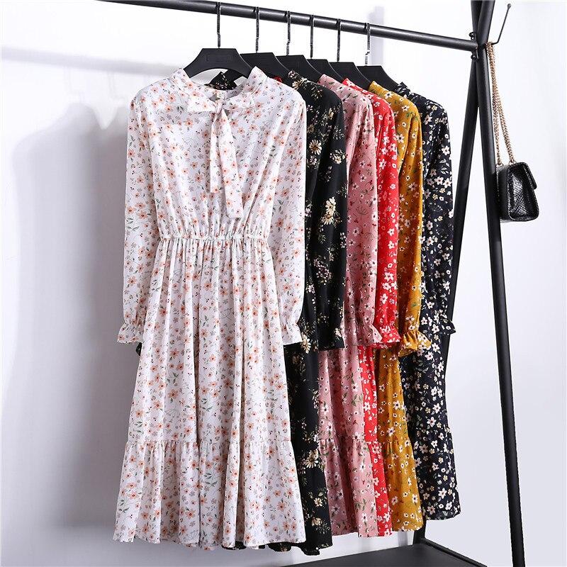 Coréen automne robe femmes en mousseline de soie Vintage solide Midi décontracté Floral à manches longues bureau femme Polka chemise pour dames Vestidos