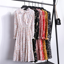 Korean Autumn Dress Women Chiffon Vintage Solid Midi Casual Floral Long Sleeve O