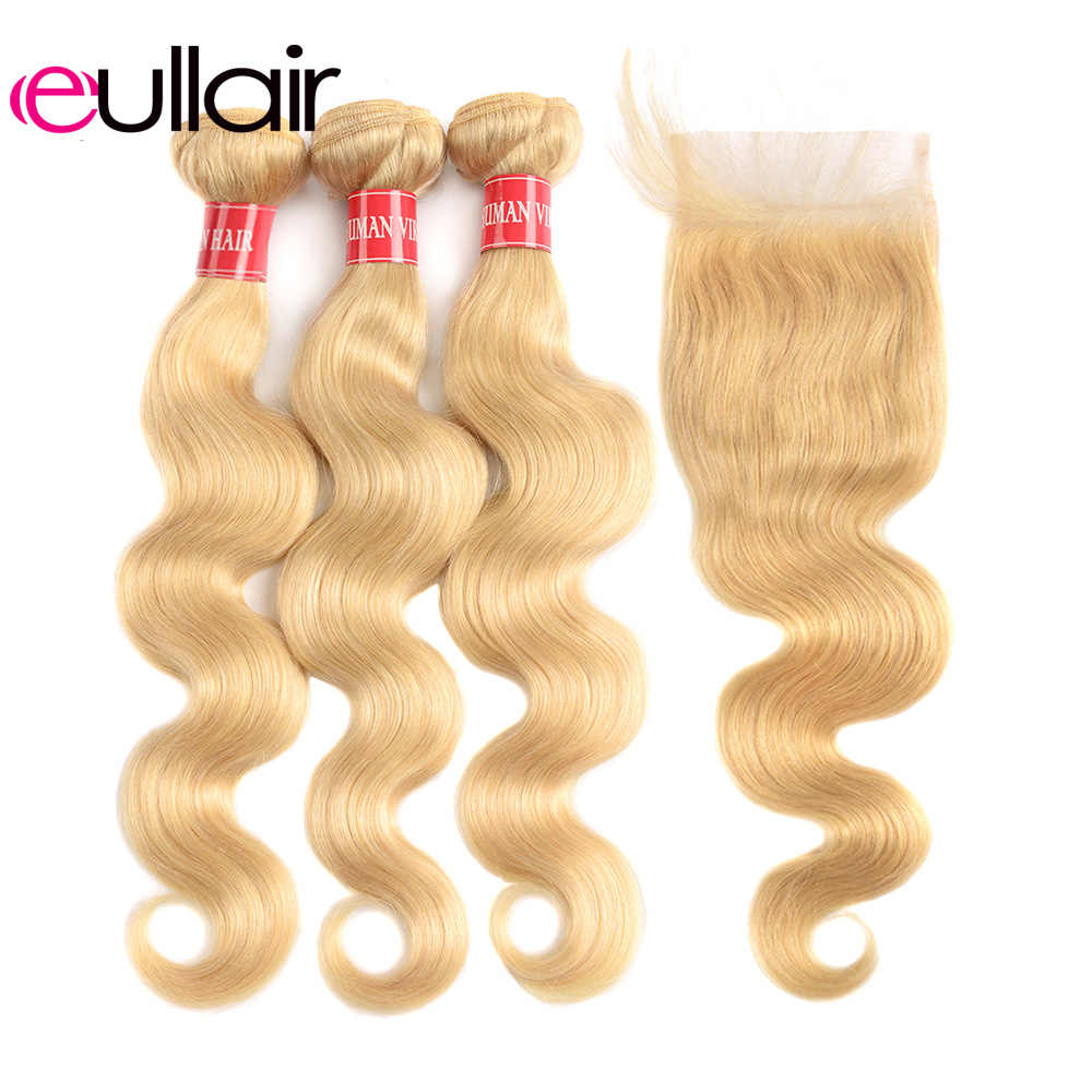 eullair Body Wave Blonde Bundles with Closure Brazilian Remy Hair Weave with 4*4 Lace Closure 613 Hair Bundles with Closure Deal