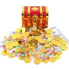 100 pçs plástico pirata moedas de ouro colorido ouro tesouro moedas para jogar favor fontes festa pirata tesouro caça jogo