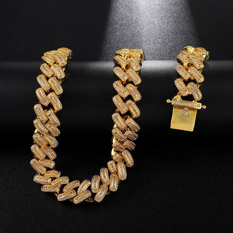 15MM Bling glacé AAA CZ carré Zircon cubain lien chaîne collier pour hommes cuivre colliers pour hommes Hip Hop bijoux - 3