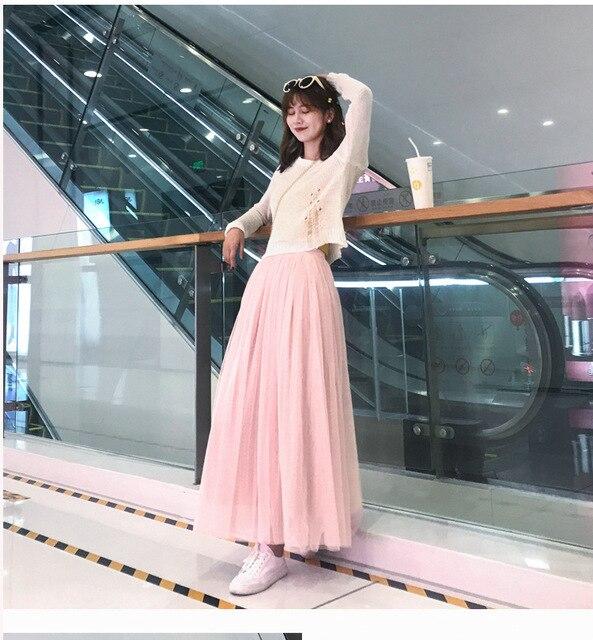 OHRYIYIE Maxi Long Tulle Skirt Women 2021 High Waist Ball Gown Skirts Summer Elastic Waist Adult Tutu Skirts Jupe Longue Femme 2