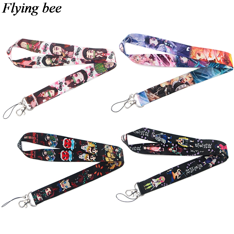 Flyingbee Kimetsu No Yaiba Anime Keychain Demon Slayer Lanyard For Keys Phone ID Name Tag DIY Hang Rope Key Ring Gifts X0837