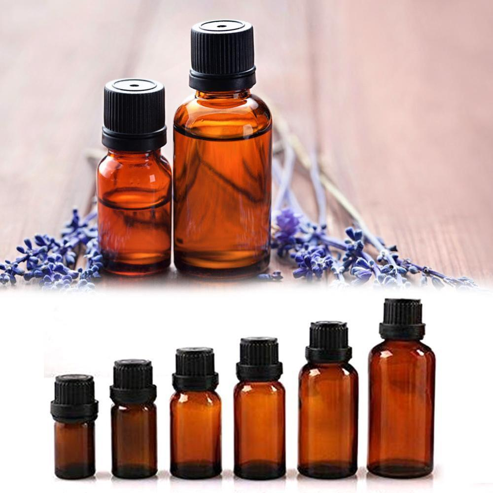 5ml/10ml/15ml/20ml/30ml/50ml Mini Amber Glass Essential Oil Brwon Orifice Vials & Cap Reducer Glass Bottle Y2N0