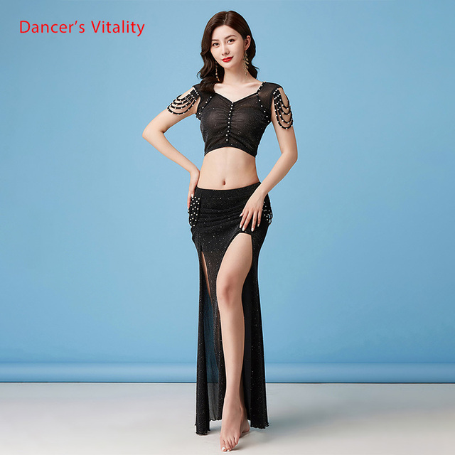 Belly Dance Suit New Summer Female Temperament Top Practice Clothes Profession Sexy Mesh Long Skirt Training Clothing 3
