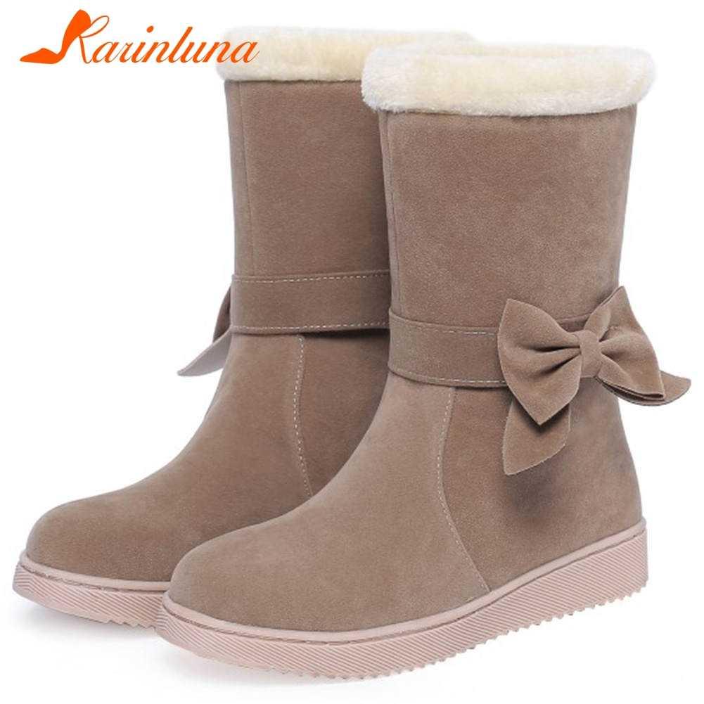 Karinluna 2019 dropship rahat sıcak peluş tatlı rusya kışlık botlar bayan botları kadın orta buzağı kar çizmeler kadın ayakkabıları