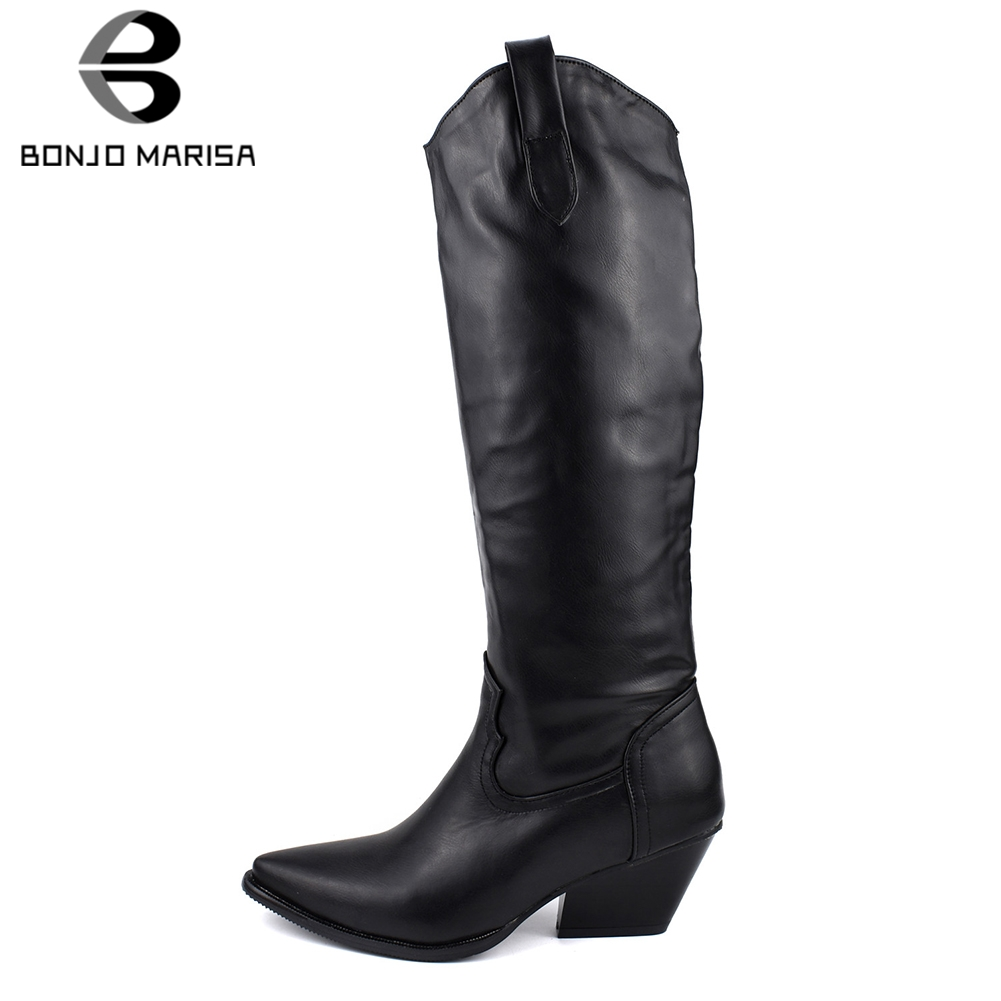 BONJOMARISA New 34 48 Brand Design mid calf Boots Women 2019 Winter Add Fur Boots Pointed Toe Footwear Med Heels Shoes Woman in Mid Calf Boots from Shoes