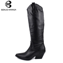 BONJOMARISA New 34-48 Brand Design mid-calf Boots Women 2019 Winter Add Fur Pointed Toe Footwear Med Heels Shoes Woman