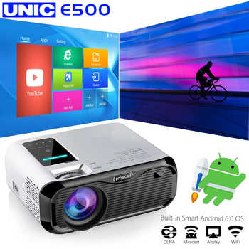 Proyector E500 WIFI Android Full HD Proyector 1280*800 7000 lúmenes cine Proyector Beamer para Android, WiFi, hdmi VGA AV Puerto USB