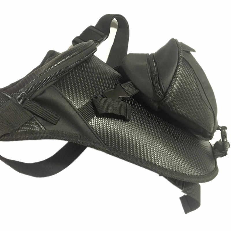 クールユニセックスオートバイ防水ナイロンドロップレッグバッグパック収納ウエストベルトバッグウエストバッグ旅行男性黒dainモト脚バッグ