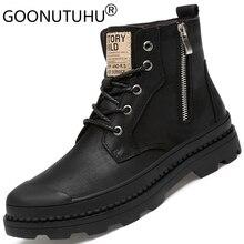 الرجال الشتاء الأحذية حذاء امن للعمل عادية جلد طبيعي الكلاسيكية الأسود أفخم نيس التمهيد حذاء رجالي الكاحل الأحذية العسكرية للرجال