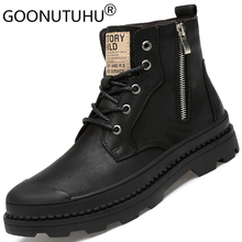 Winter men's boots work & safety shoes casual genuine leather classic black plus size boot man shoe ankle military boots for men цены онлайн