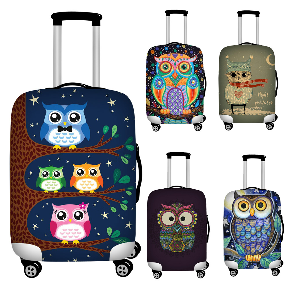 FORUDESIGNS Cartoon Owl Print Travel Suitcase Protective Dust Covers Elastic Waterproof 18''-32inch Suitcase Cover To Trunk Case