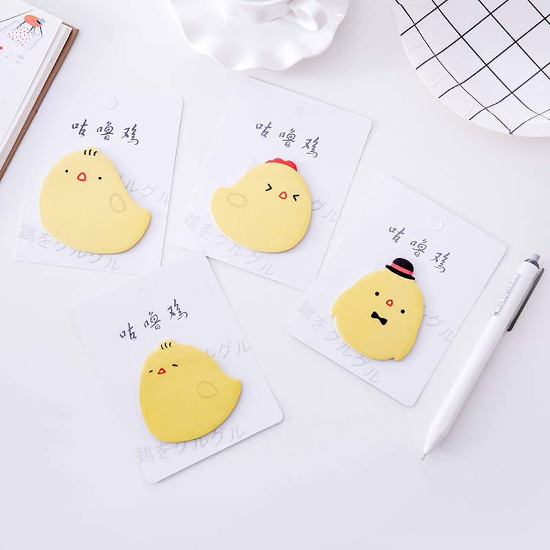 60pcs Kawaii Memo Pad Sticky <font><b>Note</b></font> Cute Chicken Sticker Palnner Paper <font><b>Note</b></font> Stationery Notepad Office Decor Memo Sheet Tabs <font><b>Postit</b></font> image