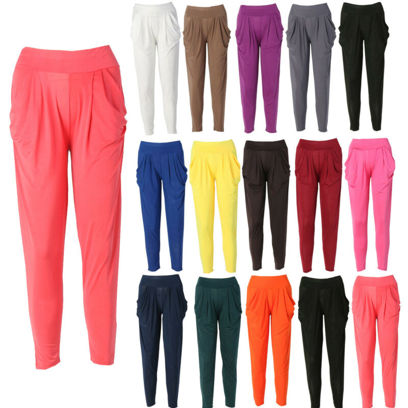 Indian Plain Style Harem Pants For Women Casual Slim Fittness Harem Baggy Dance Sport Sweat Pants Summer Lady Trousers One Size