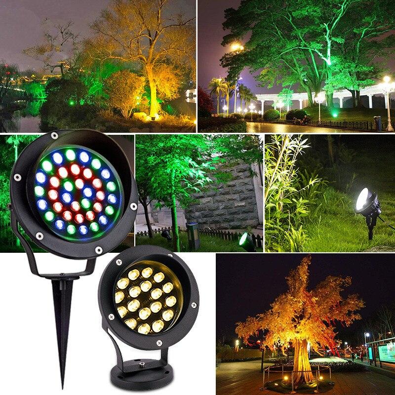 IP68 Rgb Led Spot Outdoor Fairy Garden Light Landscape 12v Waterproof Light Spotlights 6W for Yard Lawn Decorative Lamp AC220V