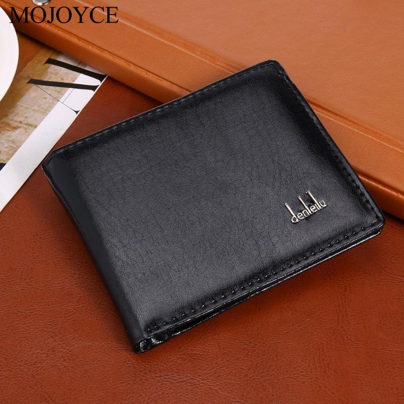 Fashion Men Short Wallets Thin Business PU Coin Purse Flap Money Bags Excellent Quality Wear Resistance Coin Purse Card Holders in Wallets from Luggage Bags