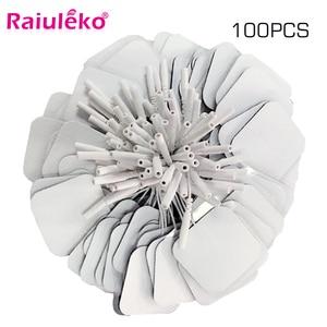 Image 1 - 20/50/100 Pcs 5x5cm 2mm Plug Reusable electrodes Tens Electrode Pads For Nerve Muscle Stimulator Digital Physiotherapy Massager