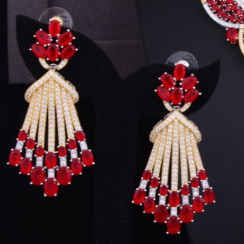 Red Austrian Crystal Luxury Noble Jewelry Set  1