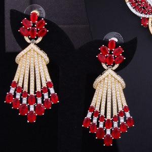 Image 2 - missvikki Trendy Romantic Red Austrian Crystal Luxury Noble Nigerian Wedding African Bridal Jewelry Set Women Attractive Jewelry