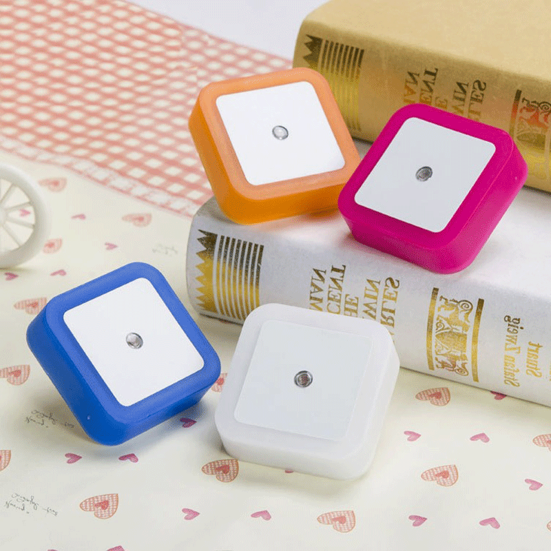 Light Control Sensor LED Night Light Mini Square Eye Protection Bedside Lamp For Baby Room Bedroom Corridor Lamp  EU / US Plug