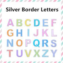 Серебряная граница Английский алфавит вышитые нашивки аппликация