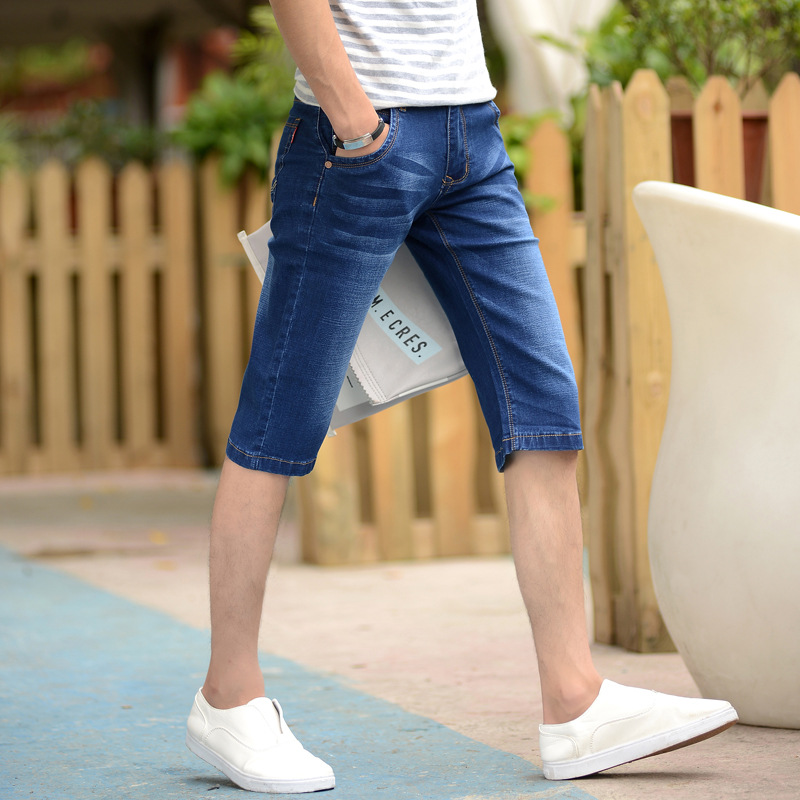 2019 Summer Men's Thin Jeans Men'S Wear Korean-style Elasticity Medium Waist Straight-Cut Capri Jeans Men's Comfortable Fashion