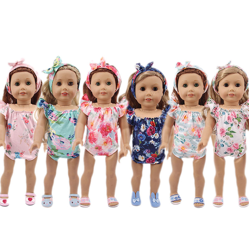 Doll Flower Swimsuit 2Pcs/Set Fit 18 Inch American&43Cm New Born Baby,Generation,Birthday Girl's Russian DIY Toy Gift