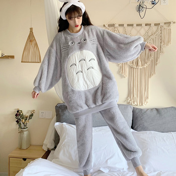 2020 Winter Thick Warm Flannel Loose Pajama Sets for Women Long Sleeve Cute Cartoon Coral Velvet Sleepwear Homewear Home Clothes