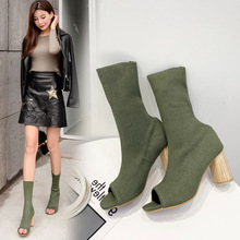 Short Boots Female Spring And Autumn Thin Single Boots Chunky Heel 2019 New Style Versatile Winter Socks Boots Women's Open Toed women autumn and winter new arrivals boots female martin bootsshoes female kitten heel chunky heel shoes and ankle boots classi