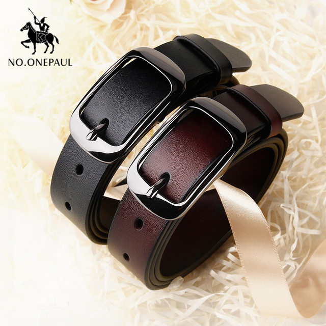 Women's genuine leather fashion retro belt high quality luxury brand ladies metal double buckle new belt