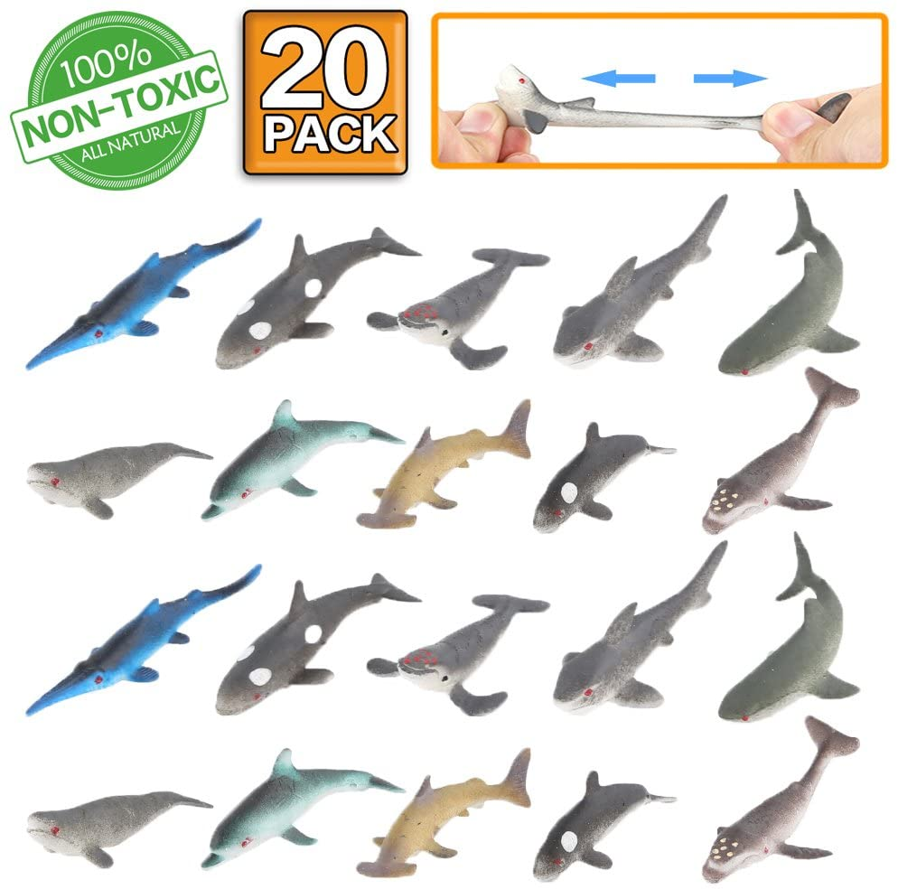 Ocean Sea Animals Set,Shark Dolphin Fish,Rubber Fish Model Toys Food Grade Material Learning Toy