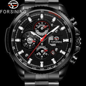 Image 1 - FORSINING Automatic Mechanical Men Wristwatch Military Sport Male Clock Top Brand Luxury Full Steel Waterproof Man Watch 6909