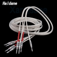 Haldane Pair HIFI Single Crystal Silver Signal Line Carbon Fiber Banana Plug Loudspeaker Cable Amplifier Speaker Audio Cable цена 2017