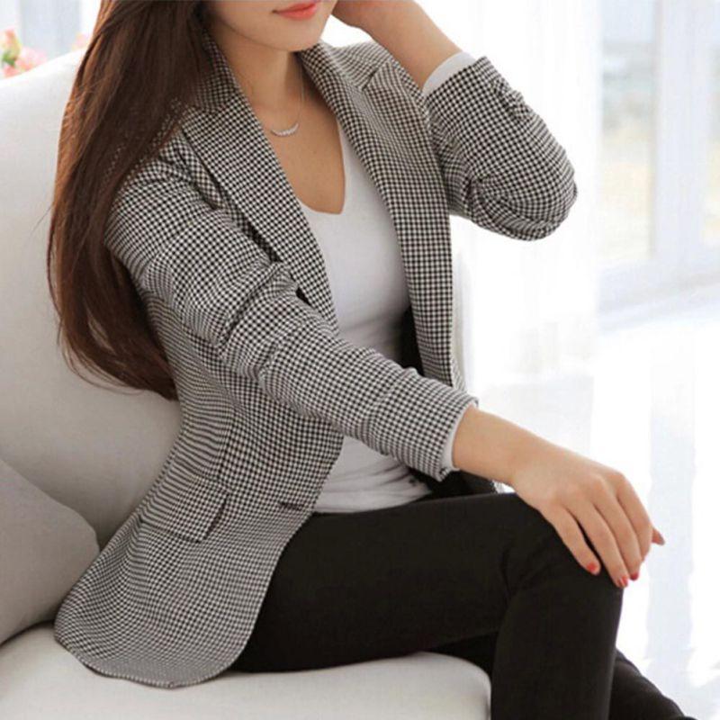 Women Plaid Pockets Blazers Ladies Long Sleeve Work Wear Casual Female Elegant Outerwear Plus Size