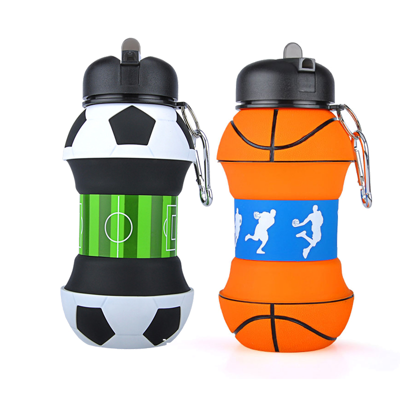2019 Creative Plastic Football Sports Water Bottle With Straw Eco friendly Leak Proof Foldable Drinking Portable Drinkware 550ML|Water Bottles| |  - title=