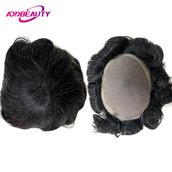 Mono NPU Men Toupee Human Hair System Hairpiece Remy Indian Human Hair Wig Replacement With Tapes Natural Color With Grey Hair