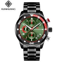 New Man Quartz Watch Multi-Function Movement Steel Belt Business Fashion Sport Waterproof C