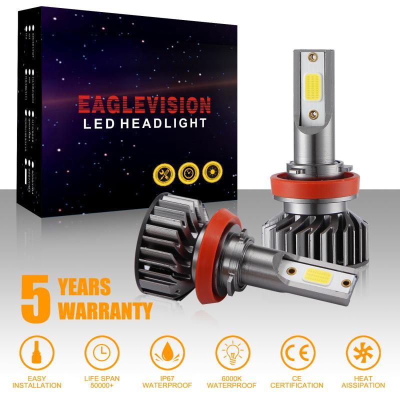 2pcs H1 H4 H7 H8 9005 9006 High Power EV8 LED Headlight Conversion Kit COB Bulb 110W 26000LM White High Power 6000K White