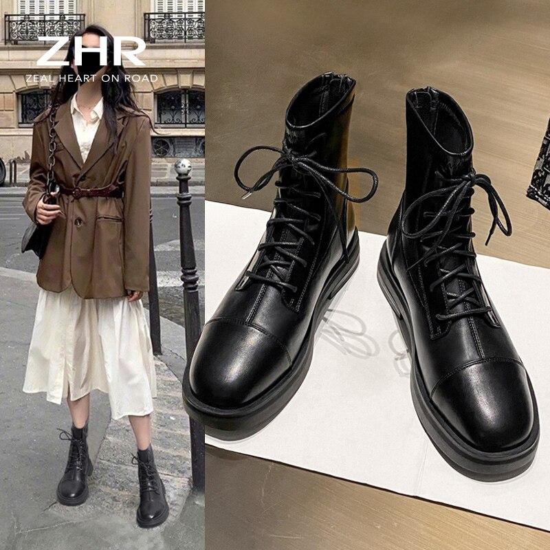 2020 femmes bottines blanc fourrure plate forme moto bottes grosse femme en cuir dames bottes à lacets courtes hiver en peluche | AliExpress