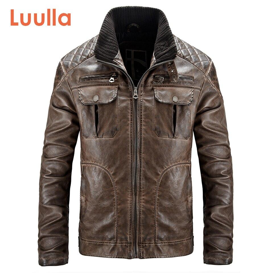 Luulla Men Spring New Motor Casual Vintage Pockets Leather Jacket Coat Men Autumn Thick Warm Fashion Outwear Leather Jacket Men