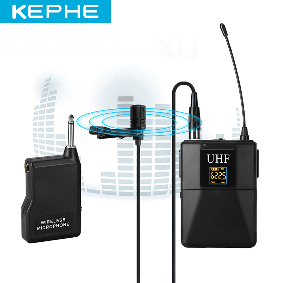 KEPHE Professional UHF Wireless Microphone System Lavalier Lapel Mic Receiver + Transmitter for Camcorder Recorder Microphone|Microphones| |  - title=