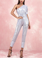 Fashion Women's Jumpsuits One Shoulder Silver Bodycon Club Night Party Women Rompers Jumpsuit