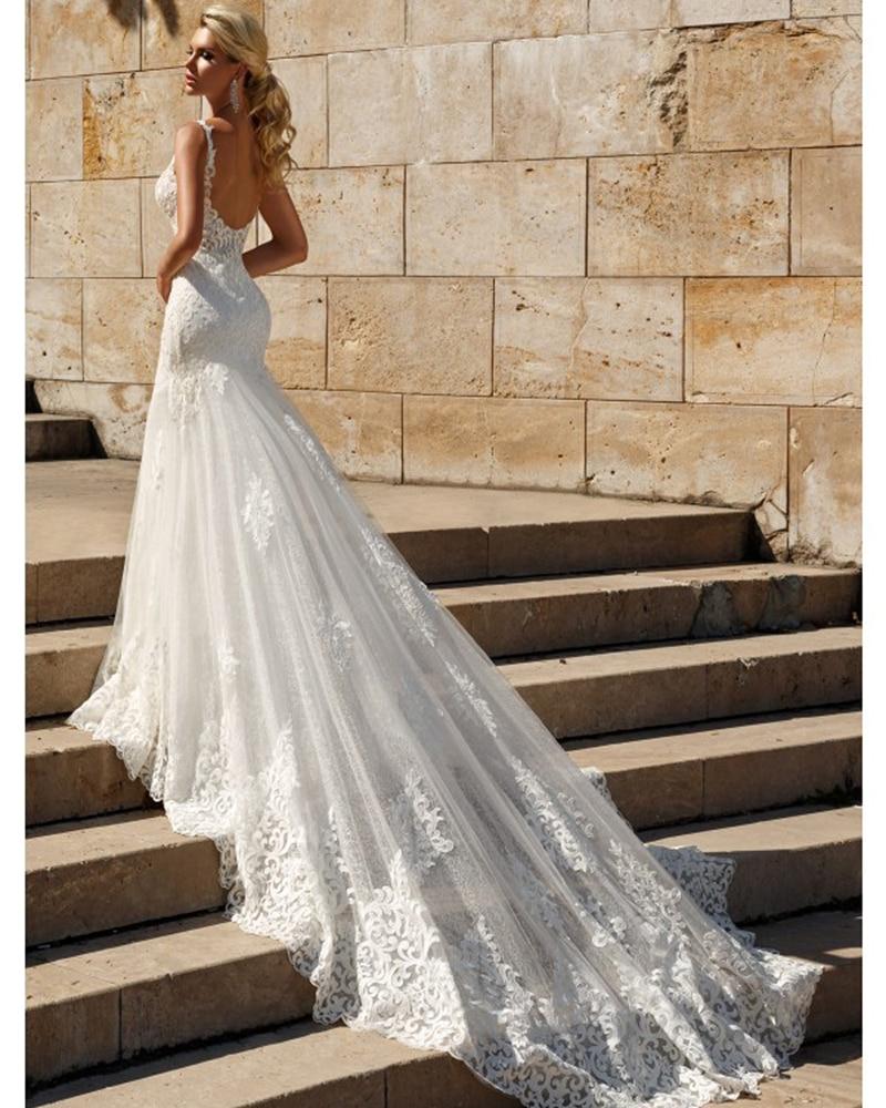 Lace Mermaid Wedding Dresses 2021 Custom Made Appliques fishtail Wedding Gown Vestido de noiva vestidos de fiesta de noche 4