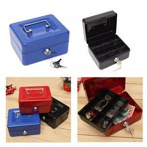 Image 3 - Praktische Mini Petty Cash Money Box Edelstahl Sicherheit Schloss Abschließbar Sicher Kleine Fit für Haus Dekoration 3 Größe