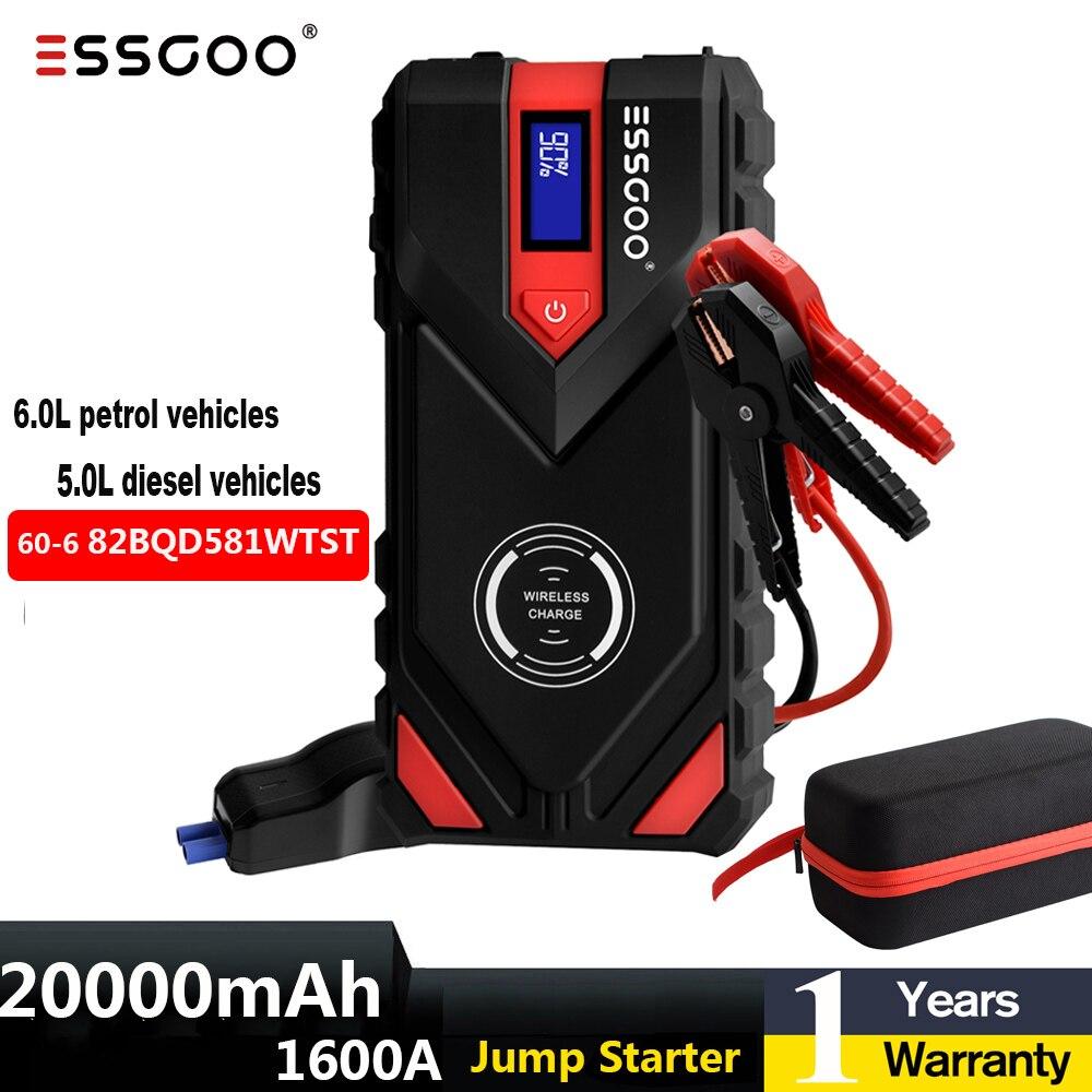ESSGOO – dispositif de démarrage rapide de voiture, Booster de démarrage d'urgence, batterie 1600a, 20000mAh