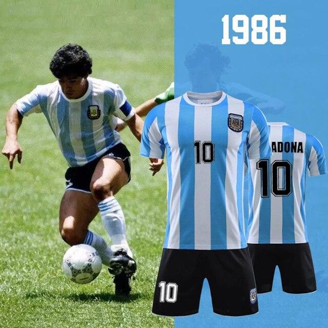 1986 Champion Maradona Jersey No.10 Argentina Vintage T-shirts Commemorative Tops Tees Set